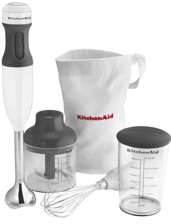 KitchenAid KHB2351WH 3-Speed Hand Blender Set in White with all accessories on a white, isolated background.