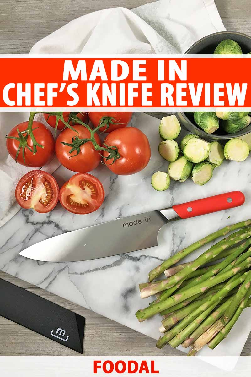 Vertical image of a marble cutting board with cut vegetables and a knife with a red handle, with white text on a red background.