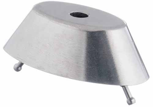 Horizontal image of a metal drive with two metal prongs.