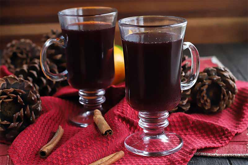 Two glass mugs of mulled red wine, on a red cloth surface with whole cinnamon sticks, citrus fruits, and decorative pine cones, with a brown wood background.