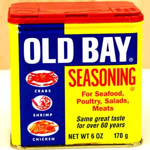 A can of Old Bay seasoning.