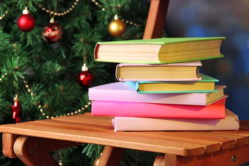 A stack of books with pastel covers on a light brown wooden folding chair in front of a Christmas tree decorated with gold and red ornaments.