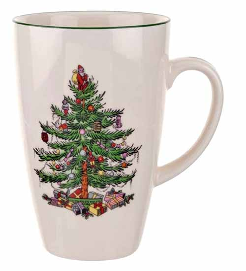 White Spode Christmas tree mug isolated on a white background.