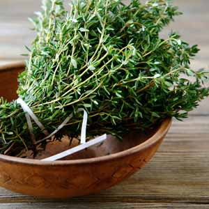 A wooden bowl full of fresh Thyme sprigs.