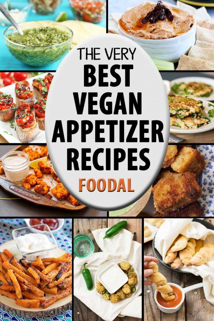 A collage of photos showing different vegan appetizer recipes.