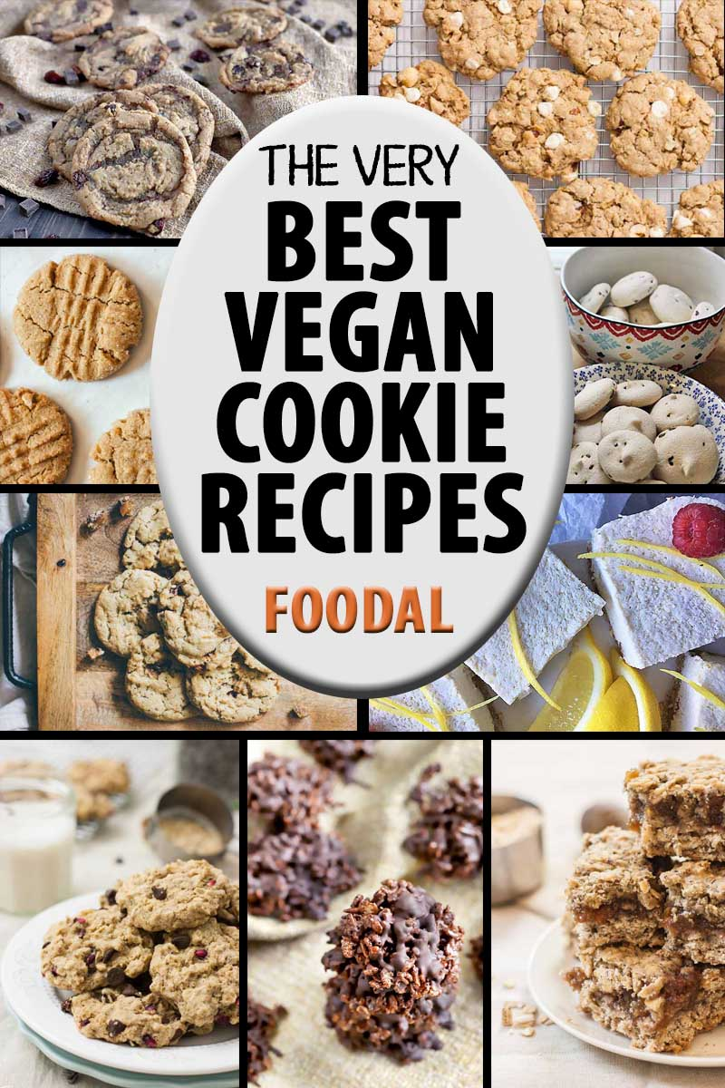 A collage of photos showing different kinds of vegan cookies.