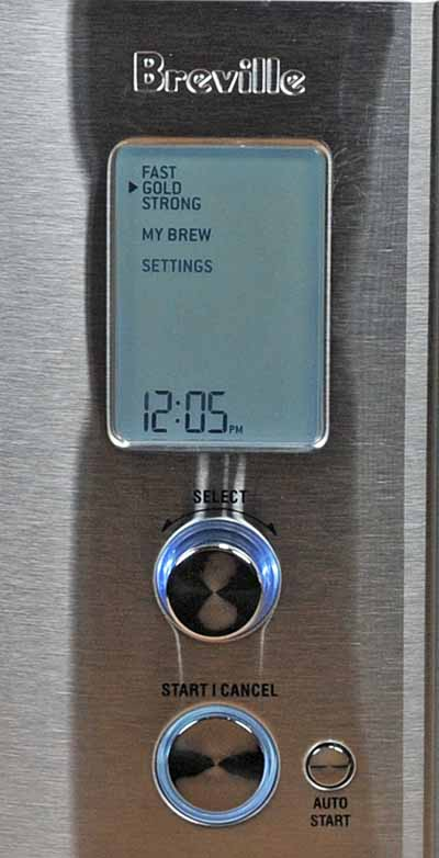 The control buttons, knobs, and display panel of the Breville Precision Brewers showing the six brewing modes.