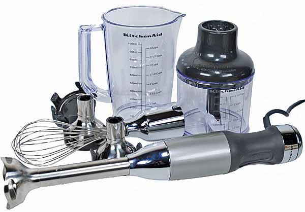 KitchenAid 2561 Immersion Blender with all attachments on a white, isolated background.