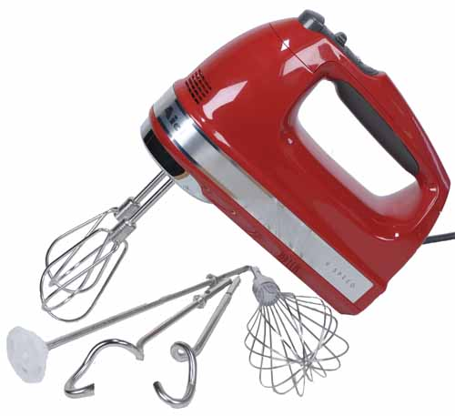 KitchenAid KHM926 9-Speed Hand Mixer with attachments on a white, isolated background.