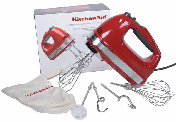 KitchenAid KHM926ER 9-Speed Hand Mixer in Rmpire Red with box and all attachments on a white, isolated background