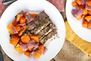 One-Pan Dinner Done Right: Balsamic Dijon Pork Loin with Sweet Potatoes, Onions, & Carrots