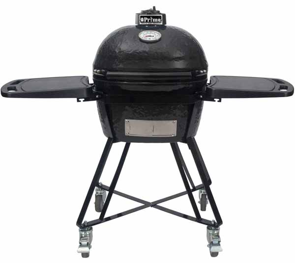 Primo All-In-One Oval Junior Ceramic Kamado Grill With Cradle and Side Shelves on a white, isolated background.