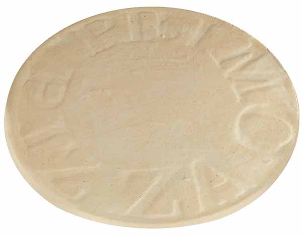 Primo Natural Finished 16-Inch Pizza Stone on a white, isolated background.