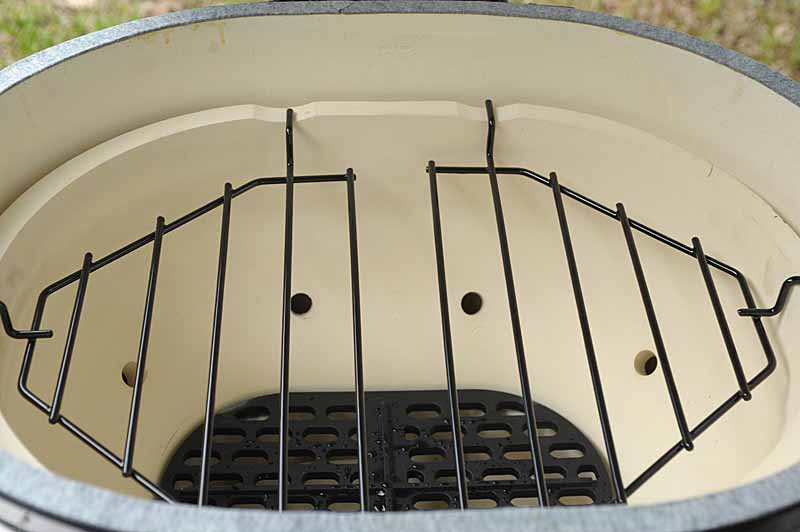 Deflector Racks inserted into the Primo Oval XL 400 Kamado.