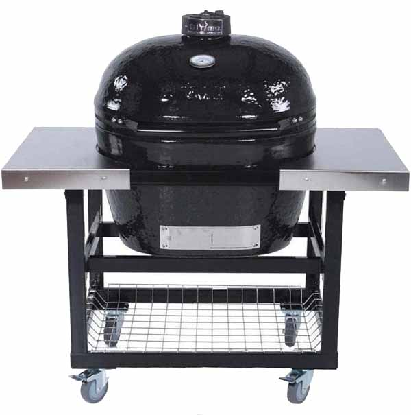 Primo Oval XL Ceramic Kamado Grill On Steel Cart With Stainless Side Tables on a white, isolated background.