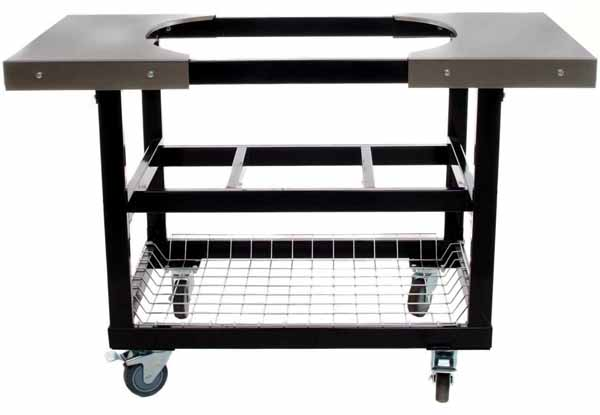 Primo Steel Cart With Stainless Steel Side Tables For Oval XL on a white, isolated background.