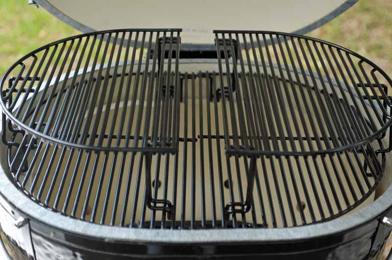 A closeup shot of two Primo XL 400 Rack Extensions installed on the existing porcelain grates.
