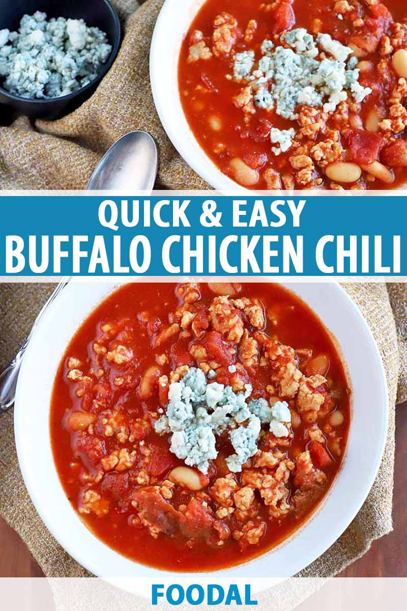 Vertical overhead shot of two white bowls of chicken chili with a vibrant red sauce, topped with blue cheese crumbles with a small bowl of the same to the left and a spoon, on a burlap surface, printed with blue and white text.