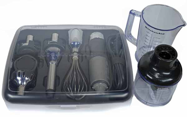 KitchenAid 2561 Immersion Blender with attachment in its included case on a white, isolated background.