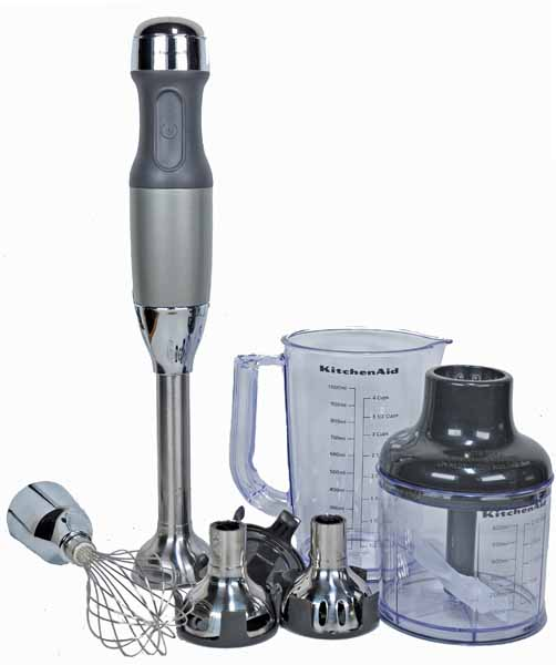 KitchenAid KHB2561CU 5-Speed Hand Blender Set in Contour Silver on a white isolated background.