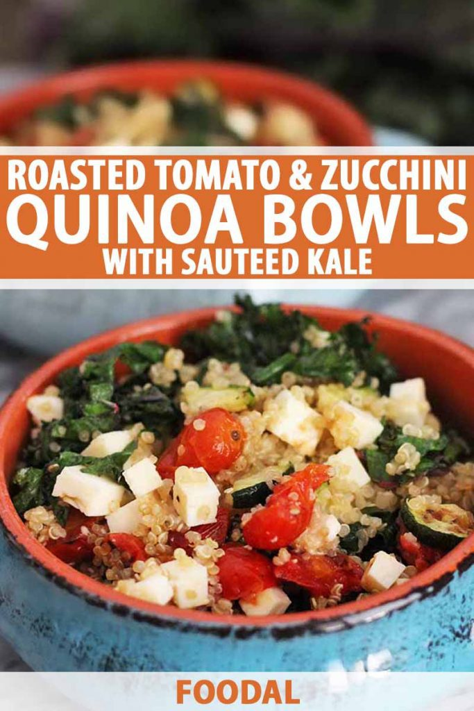 Vertical shot of two blue terra cotta bowls of quinoa with feta cheese and vegetables, printed with orange and white text.