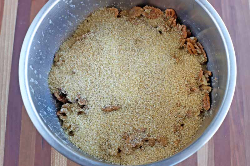 Top-down shot of a dry mix with sugar and spices.