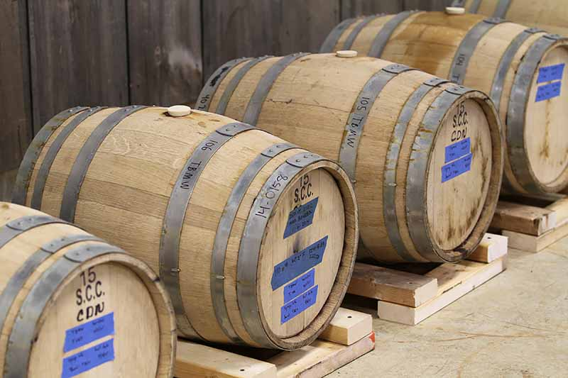 Horizontal image of a line of wooden barrels.