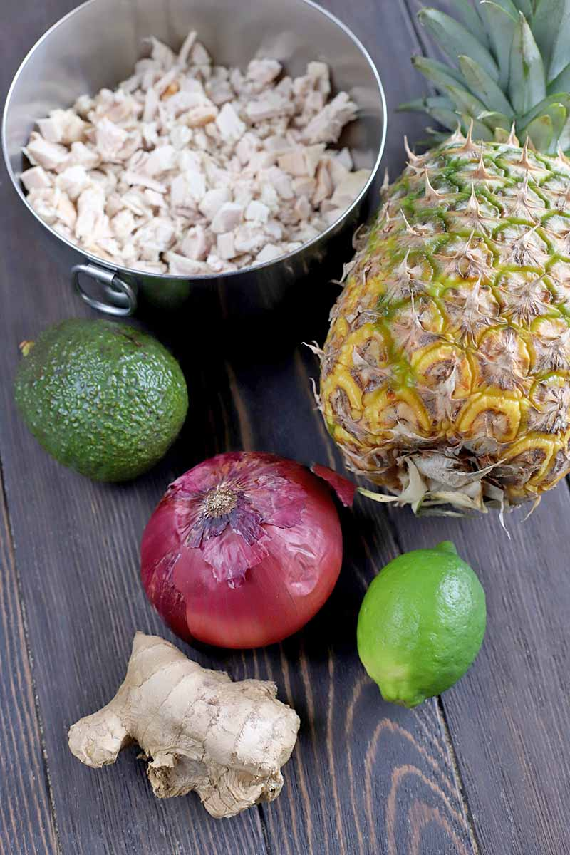 Vertical overhead shot of a small stainless steel bowl of chopped cooked chicken breast, a whole pineapple, a lime, a red onion, an avocado, and a piece of fresh ginger, on a dark brown wood background.
