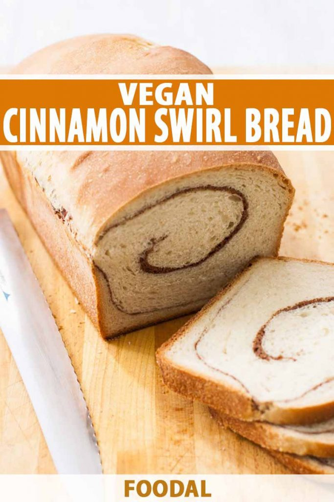 Vertical image of a whole bread loaf with a slice and text on the top and bottom.