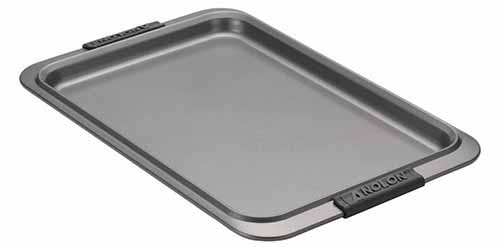 Anolon Advanced rimmed baking pan with silicone grip handles, isolated on a white background.