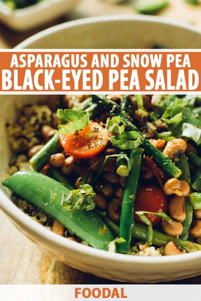 Vertical image of a bowl with quinoa and assorted seasoned vegetables, with text on the top and on the bottom.