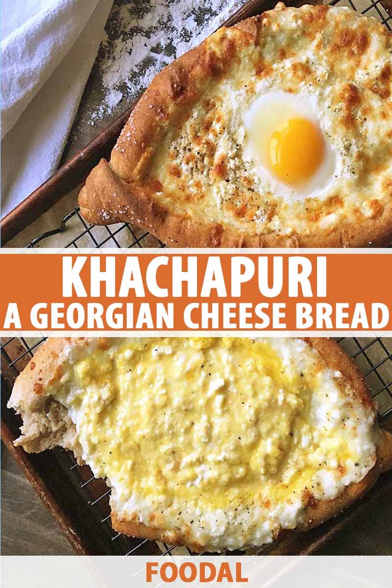 Vertical image of two khachapuri breads on a cooling rack, with text on the bottom and in the middle of the image.