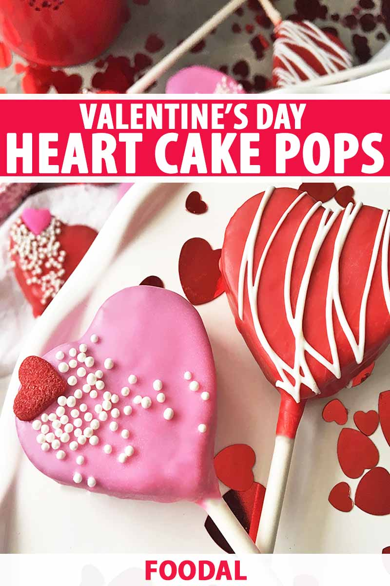 Vertical image of cake pops on a white surface with Valentine's Day decorations, with text in the middle and bottom of the image.
