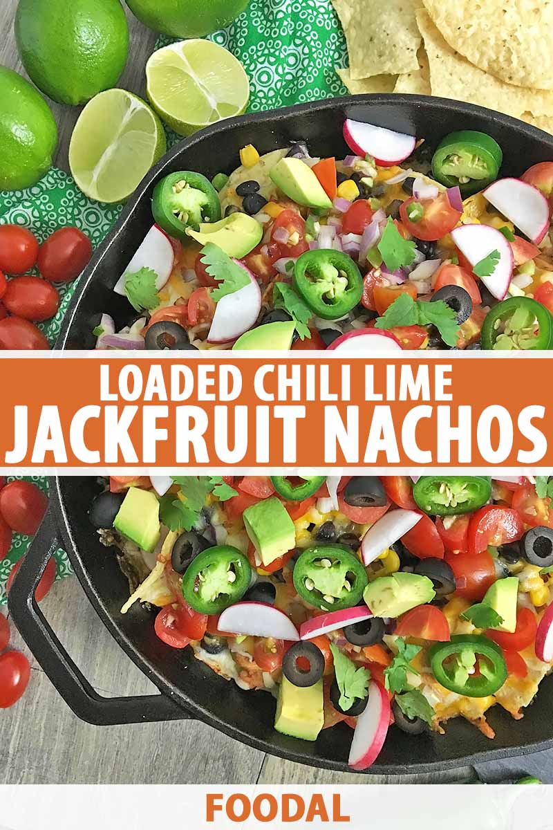 Vertical image of a cast iron skillet filled with toppings on nachos and text in the center and bottom of the image.
