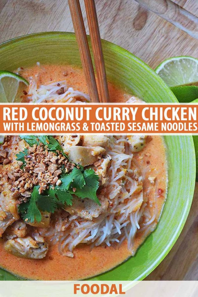 Overhead closely cropped shot of a light green bowl of red coconut curry with chicken and rice noodles, and a garnish of cilantro and peanuts, with two wooden chopsticks, on an unfinished wood surface with lime wedges, printed with orange and white text.