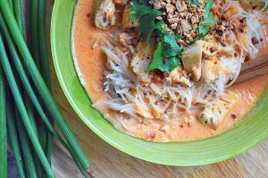 Red Coconut Curry Chicken with Lemongrass and Toasted Sesame Noodles