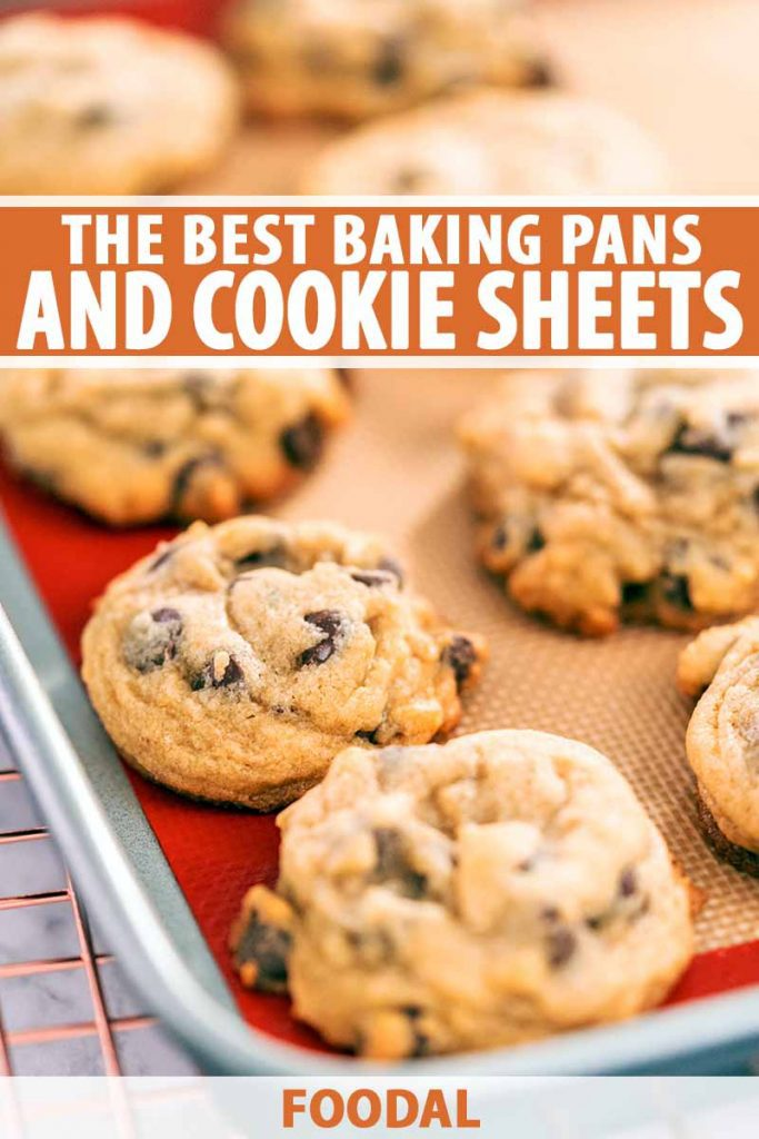 Vertical image of a metal sheet pan lined with an orange and off-white Silpat pan liner, with freshly baked chocolate chip cookies arranged in rows on top, on a metal cooling rack on a gray surface, printed with orange and white text in the top third and at the bottom of the frame.