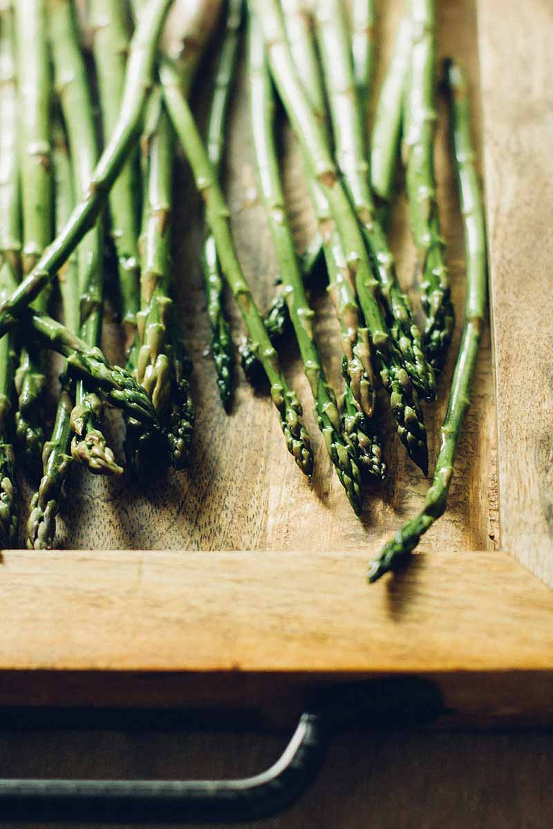 Vertical image of fresh asparagus on a wooden board.