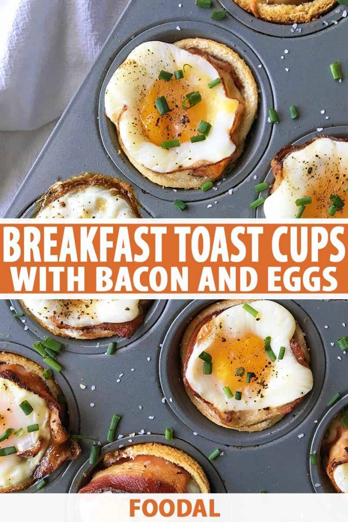Vertical image of a muffin tin with baked breakfast bites with eggs, bacon, and chive garnish, with text in the center and on the bottom of the image.