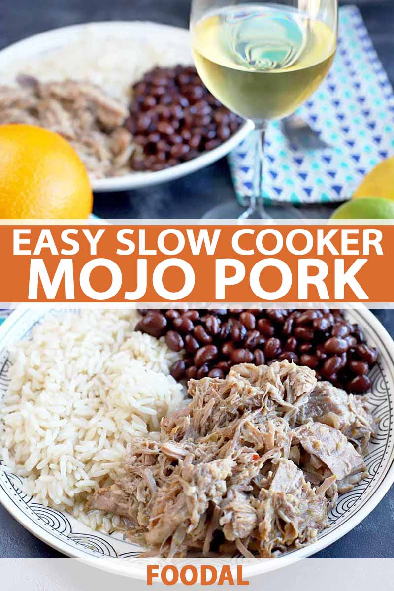 Vertical image of slow cooked pork with beans and rice on a plate, with text in the center and bottom of the image.