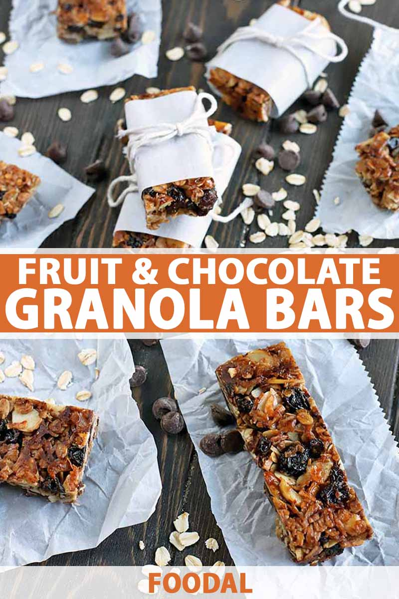 Vertical oblique overhead shot of homemade granola bars, some on small slips of white parchment and other wrapped in paper and tied in string, on a dark brown wood surface with chocolate chips and uncooked oats strewn across it, printed with orange and white text.