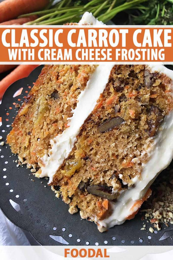 Vertical close-up image of a two-layered carrot cake, with text on the top and bottom of the image.