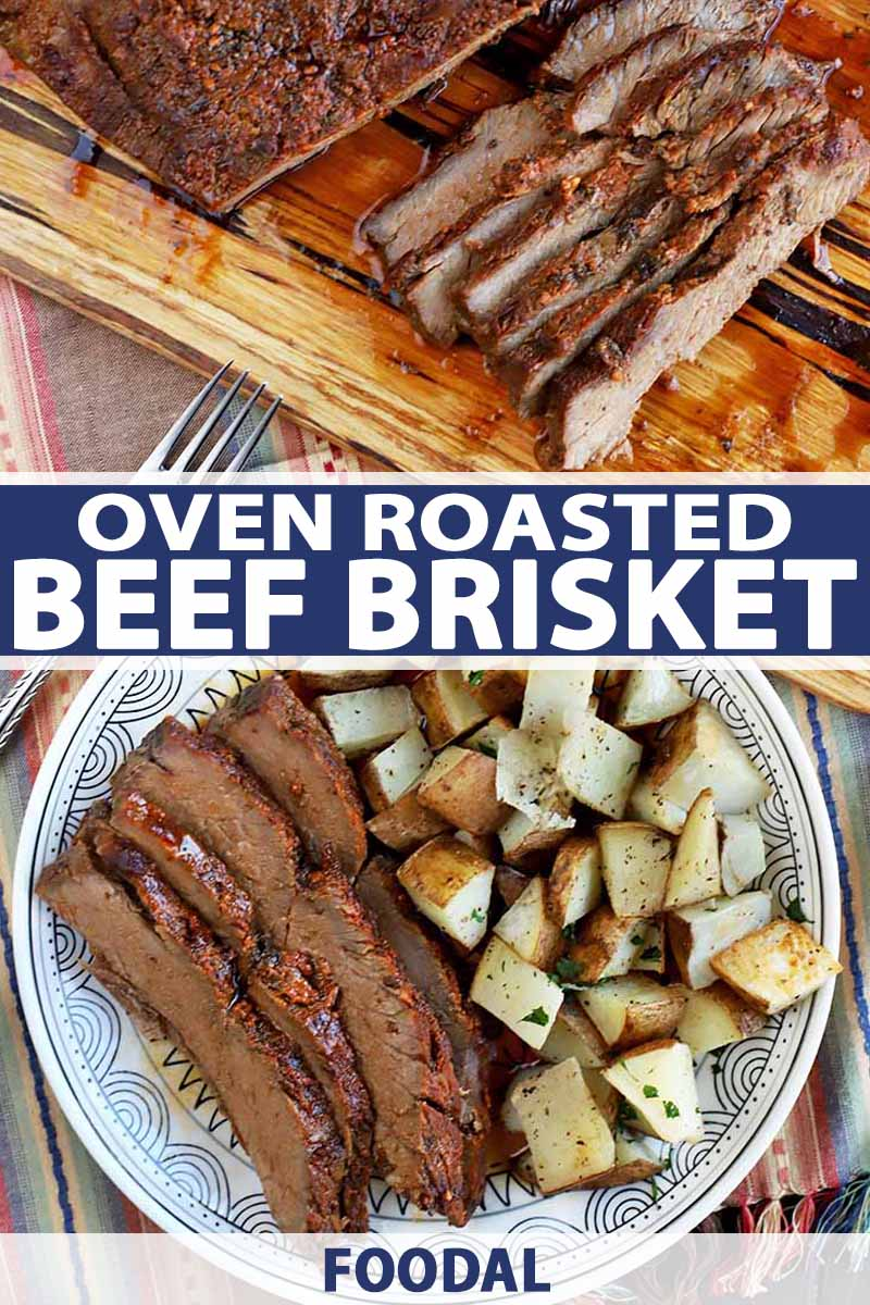 Vertical overhead shot of a plate of sliced beef with roasted potatoes, and a cutting board topped with roast brisket in the background, on a cloth surface, with blue and white text.