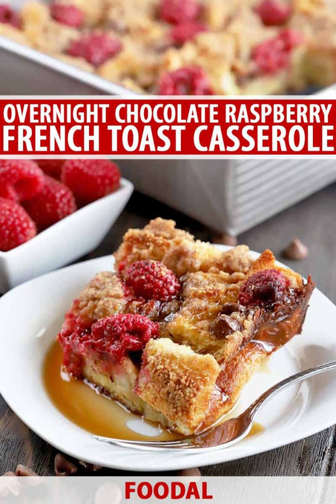 Vertical head-on shot of a white plate of French toast casserole with a fork and drizzled with maple syrup, with a small, square, white dish of fresh berries and more of the casserole in a matal baking pan in soft focus in the background, on a dark brown wood surface, printed with red and white text.