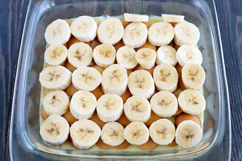 Horizontal overhead shot of a square glass baking dish of vanilla wafer cookies, pudding, and banana slices arranged in five rows of six slices each, on a dark brown wood surface.