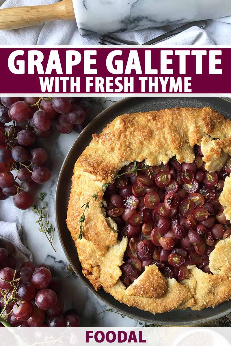 Vertical top-down image of a whole galette with grapes and thyme, next to more fruit and a rolling pin, with text on the top and bottom of the image.
