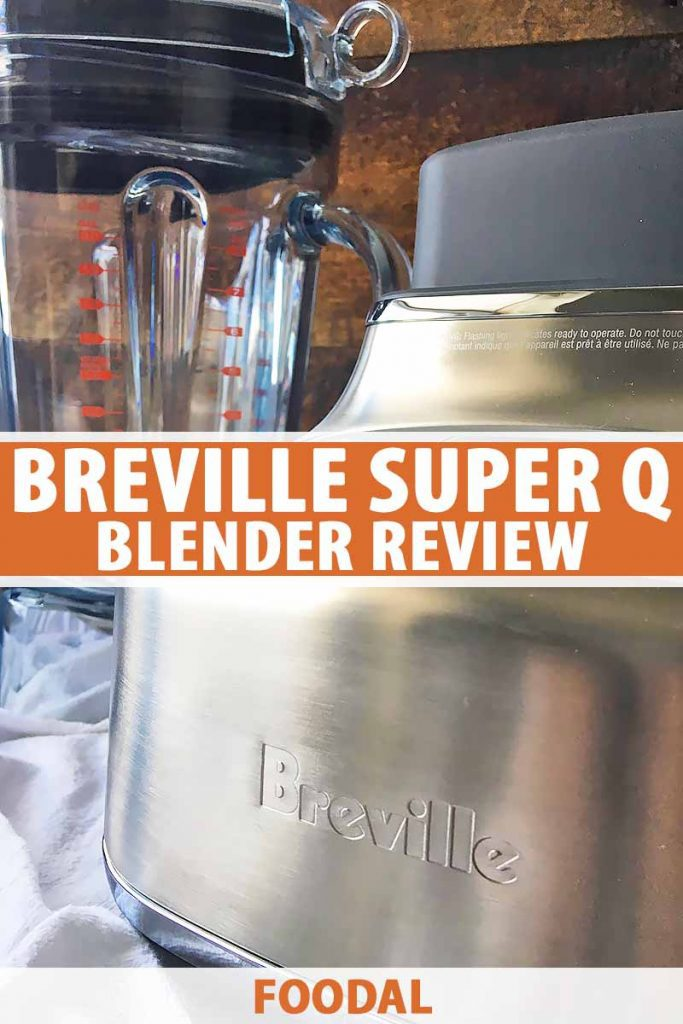 Vertical close-up image of a Breville blender base with the container in the background.