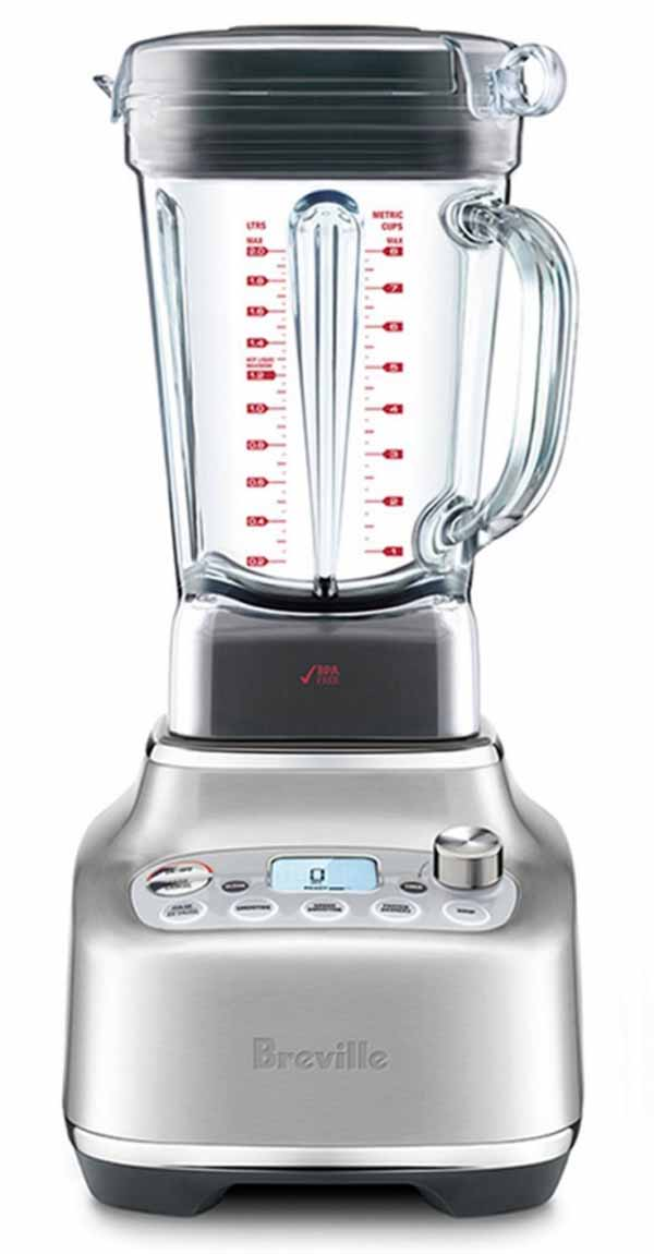 image of a Breville Super Q Blender pitcher and base.