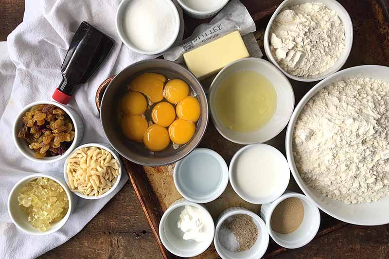 Horizontal image of ingredients to make kulich.
