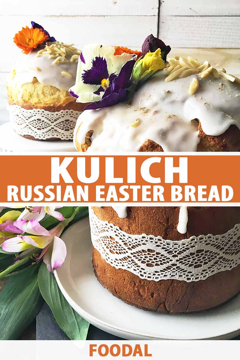 Vertical image of two kulich loaves with icing and floral decorations.